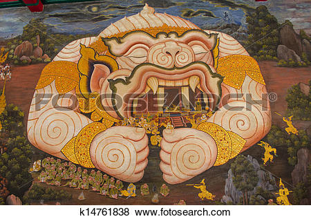 Pictures of Art painting about Ramayana on a cliff wall at Wat.