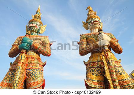 Stock Photographs of Guardian statue of the indian epic ramayana.