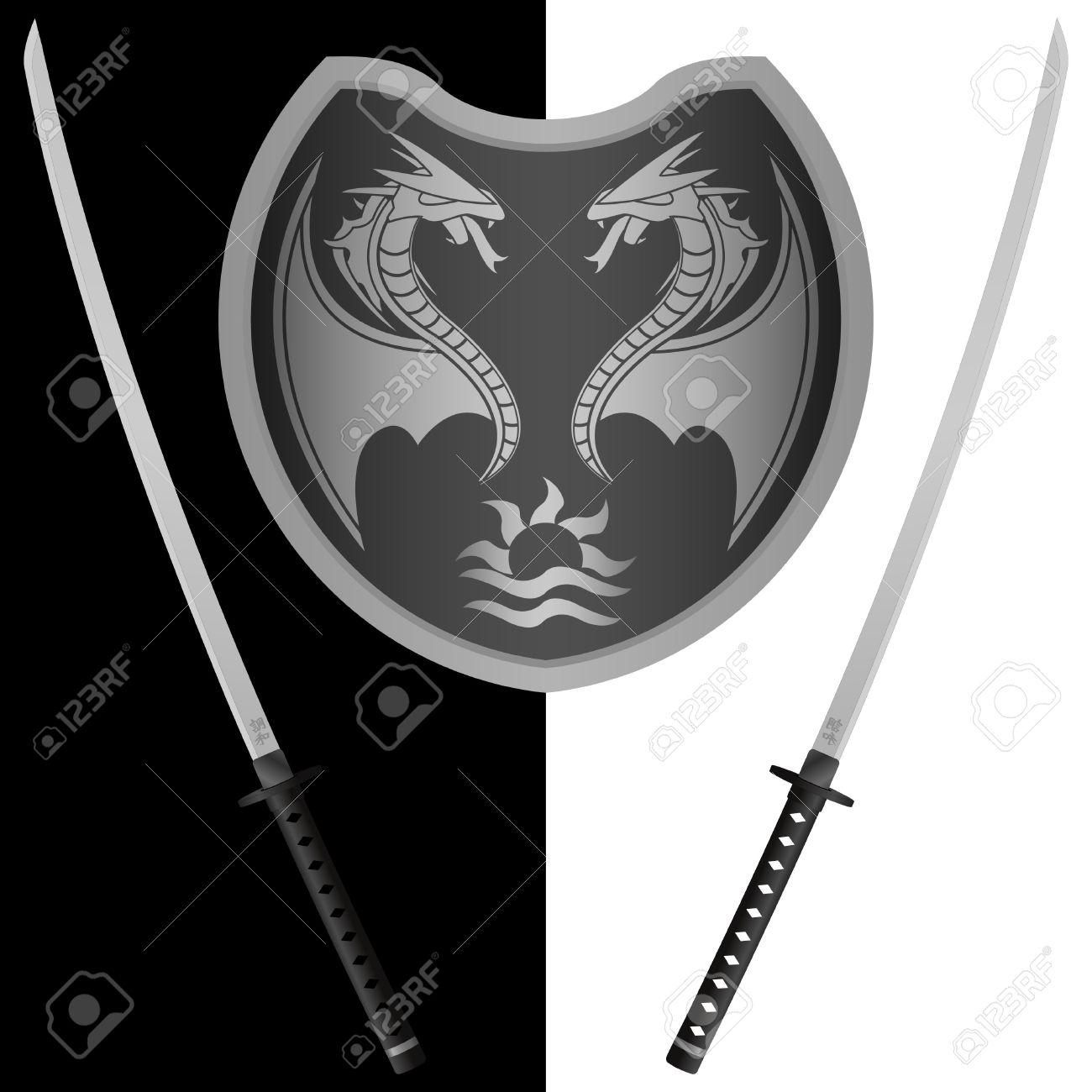 Fantasy Shield And Swords. Eighth Variant. Vector Illustrator.
