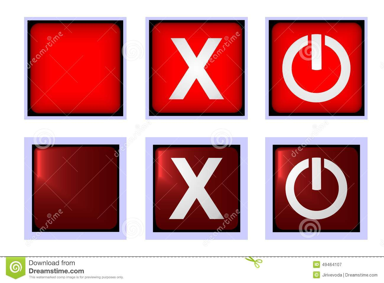 Square Red Close Button On And Off Stock Vector.