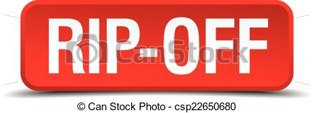 Vector of Rip off red 3d square button isolated on white.