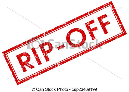 Stock Illustration of rip off red square stamp isolated on white.