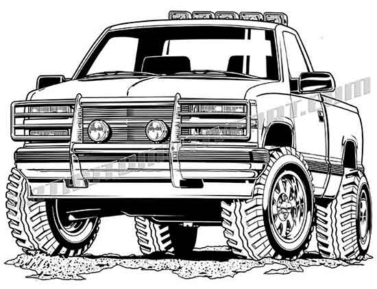 Lifted Off Road 4x4 Pickup Truck #2 Vector.