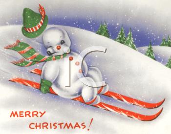 Vintage Snowman on Skiis.