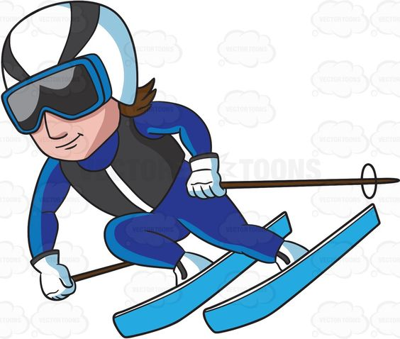 A Male Skier Gliding Down The Alpine Slope.