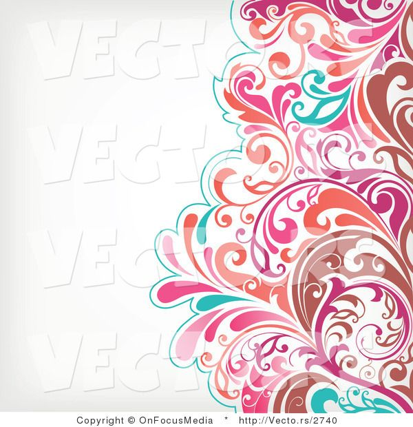 Vector of Brown, Pink and Turquoise Floral Vines Pattern.