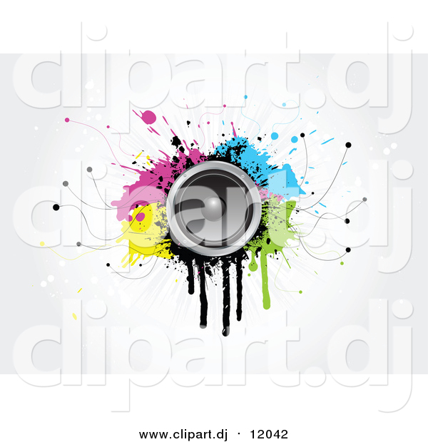 Vector Clipart of a 3d Music Speaker on Colorful Grungy.
