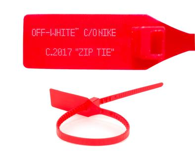 RED OFF WHITE ZIP TIE WITH PRINTED OFF WHITE TEXT (REGULAR SIZE).