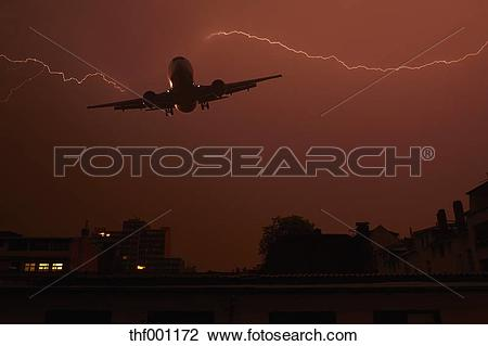 Stock Photo of Germany, Offenbach, View of lightning with plane.