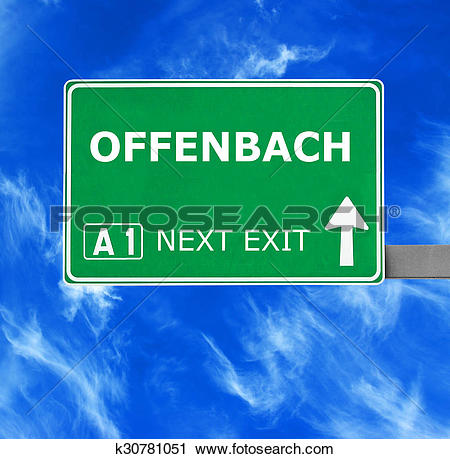 Stock Photography of OFFENBACH road sign against clear blue sky.