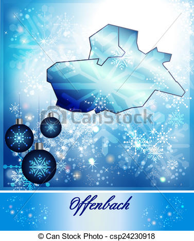 Clipart of Map of Offenbach am Main in Christmas Design in blue.