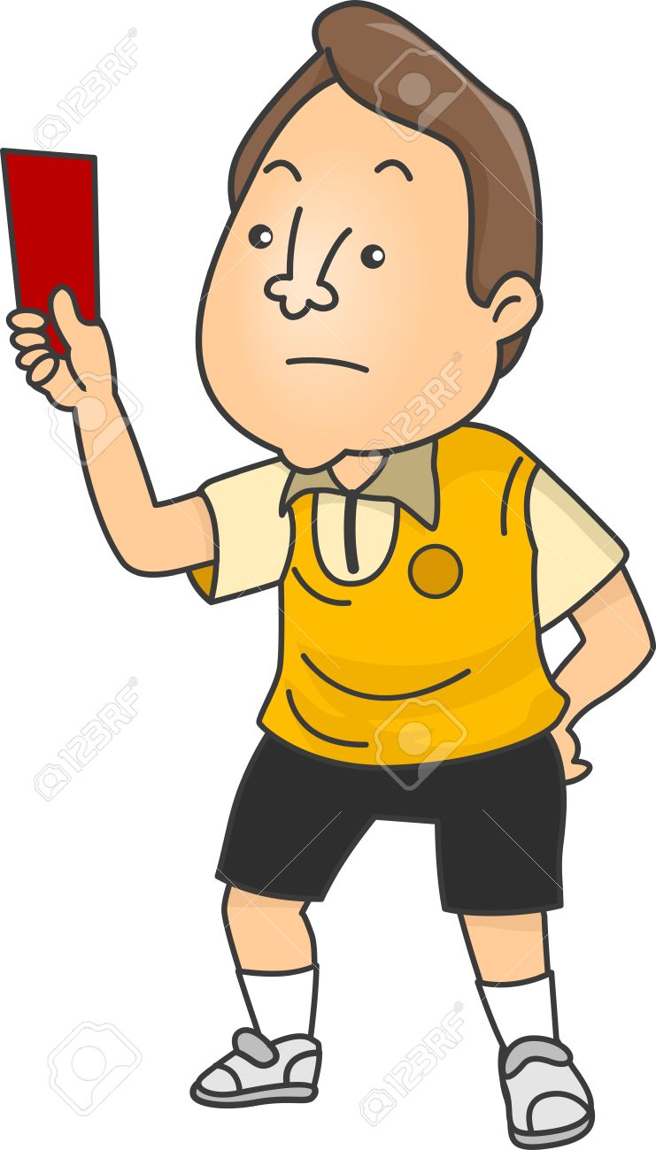Illustration Of An Upset Male Football Referee Holding A Red.