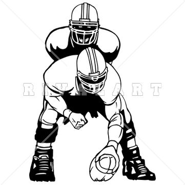 Sports Clipart Image of Black White Football Players Snap.