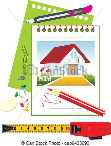 Vector Clipart of Notebook with office accessories. Project of.