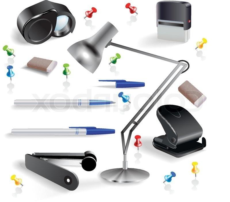 Set Of Office Accessories. Vector Clip Art Stock Vector.