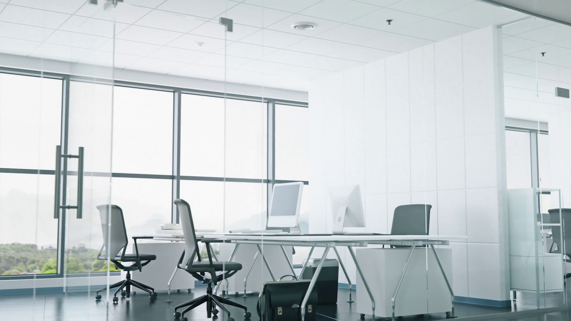 Modern Office Space With Glass Walls Motion Background.