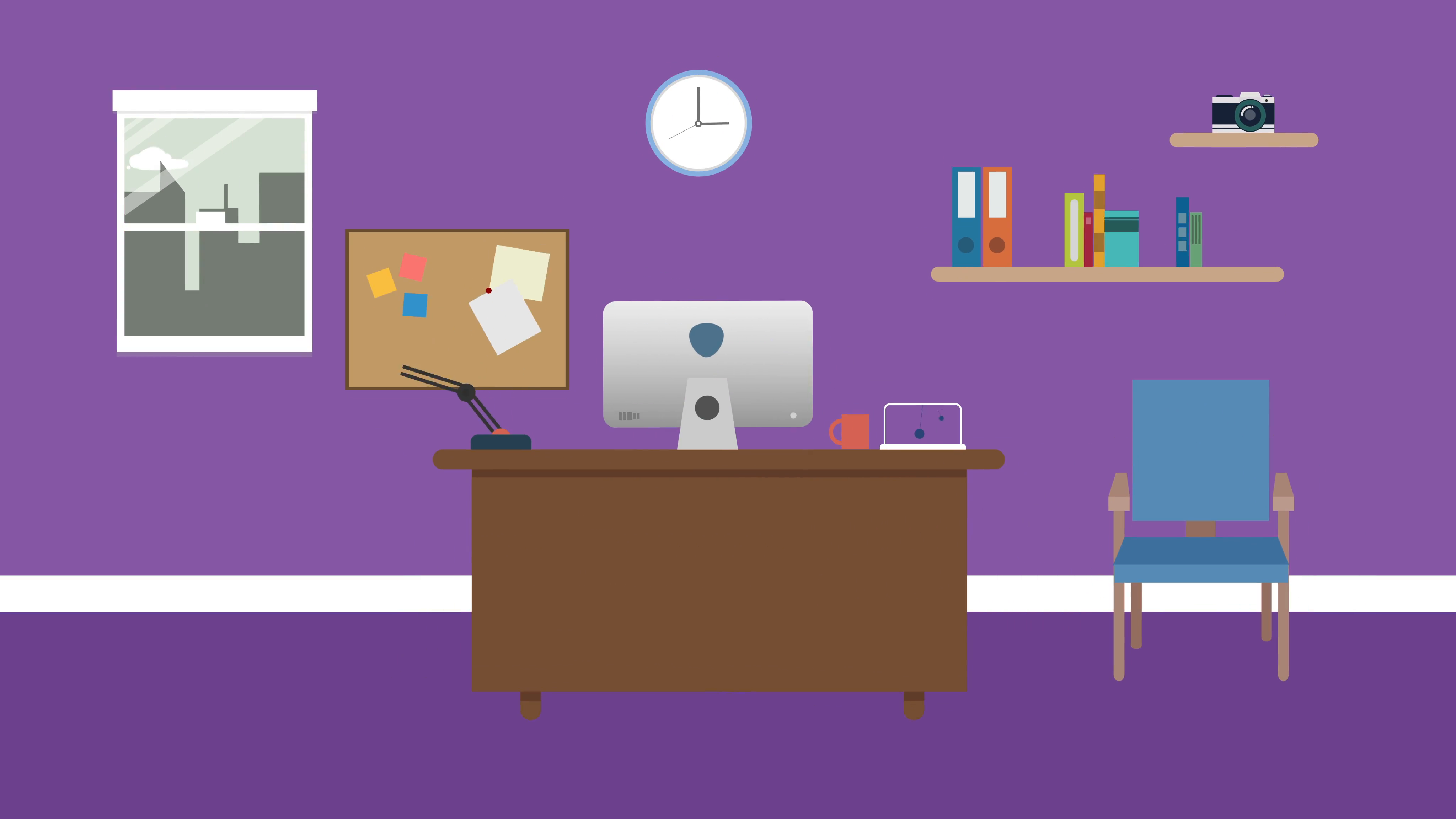 Cartoon Modern colorful Office Animation with space for your text or logo,  cool vector typical Office background, 4k. business and work concept..