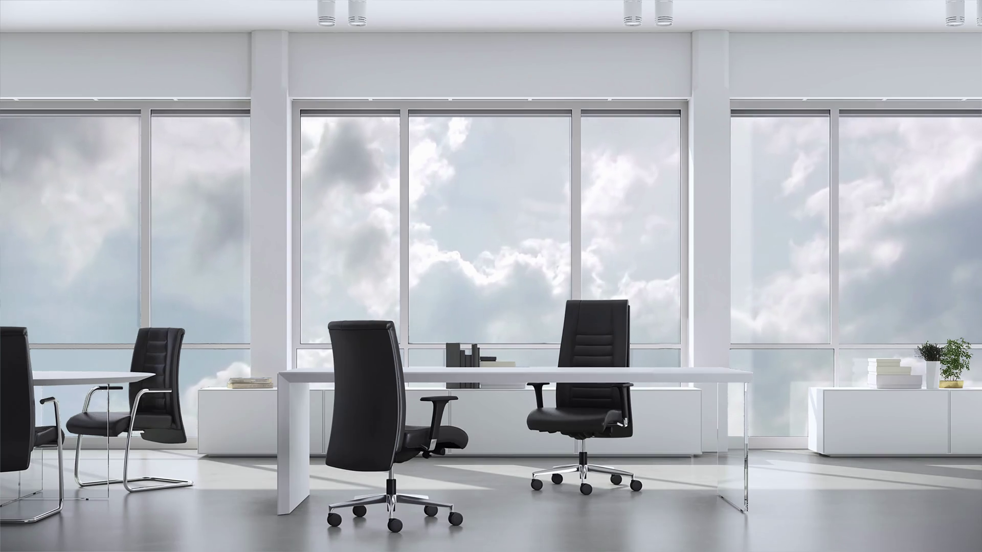 View from window in business office in skyskraper on cloudy sky. Background  plate, chroma key video background..