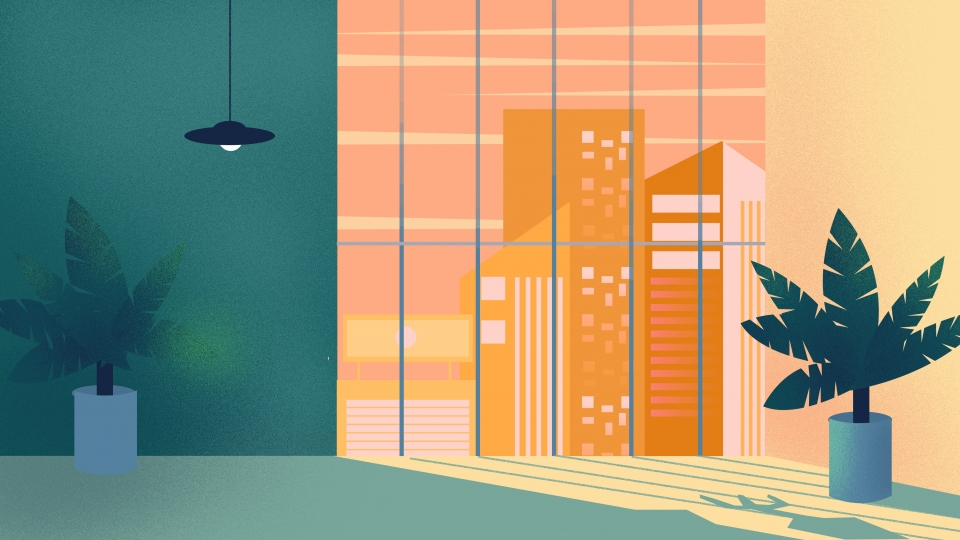 Early Morning Office Background Design, Painted Background.