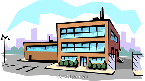 Office building Royalty Free Vector Clip Art illustration.