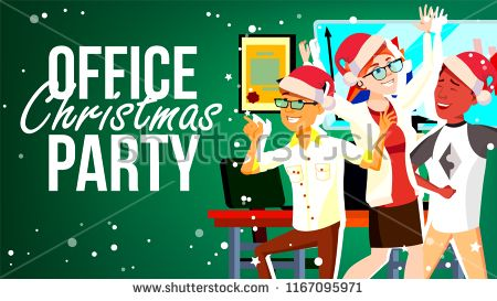 Office Christmas Party Vector. Smiling. Happy Business.