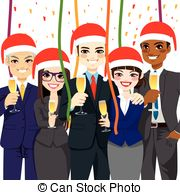 Office christmas party cartoons Clip Art and Stock.