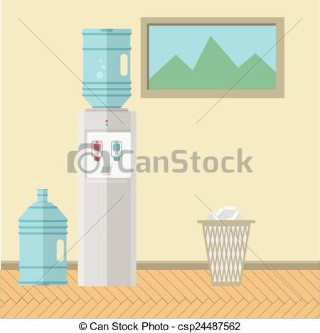 Clip Art Vector of Flat vector illustration of office interior.