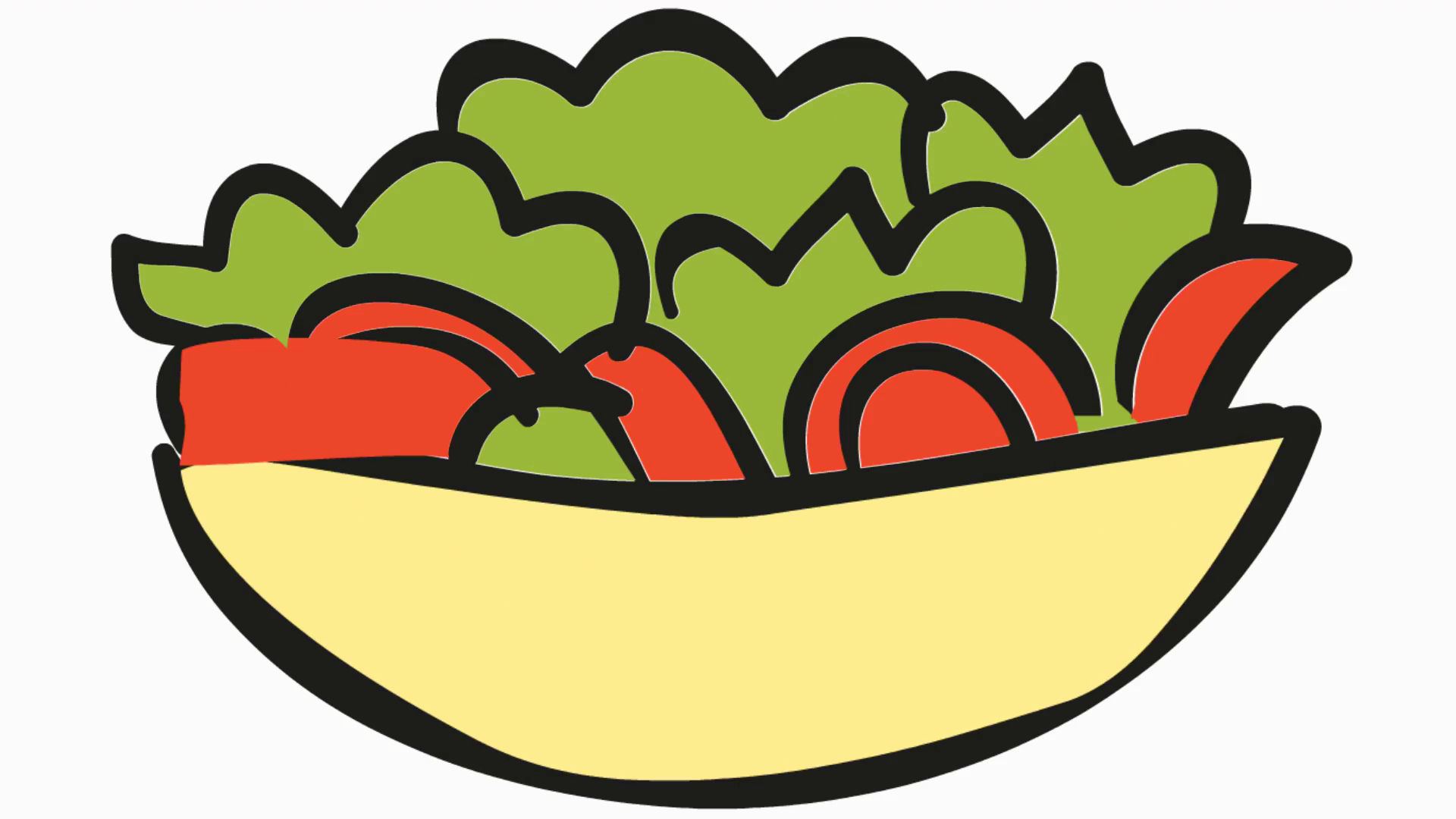 salad bowl cartoon illustration line drawn animation transparent.