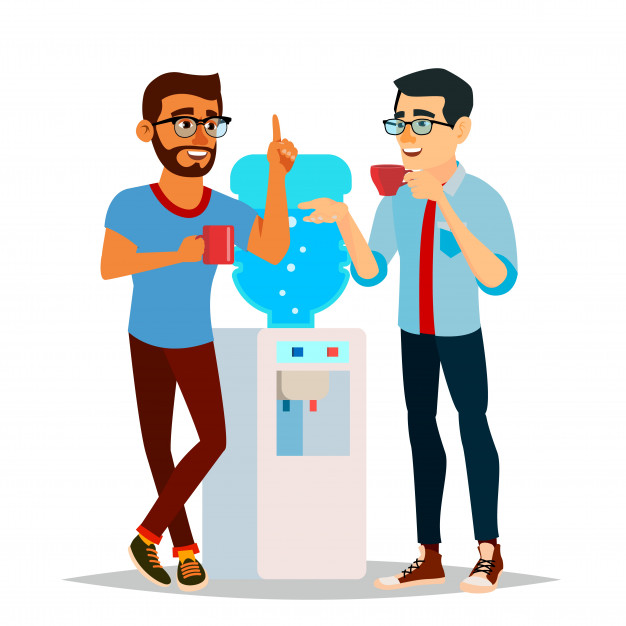 Businessmen drinking water at the office illustration Vector.