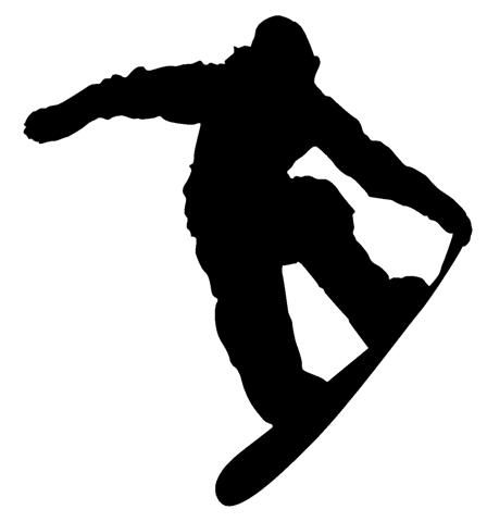 silhouettes of snowboarders.