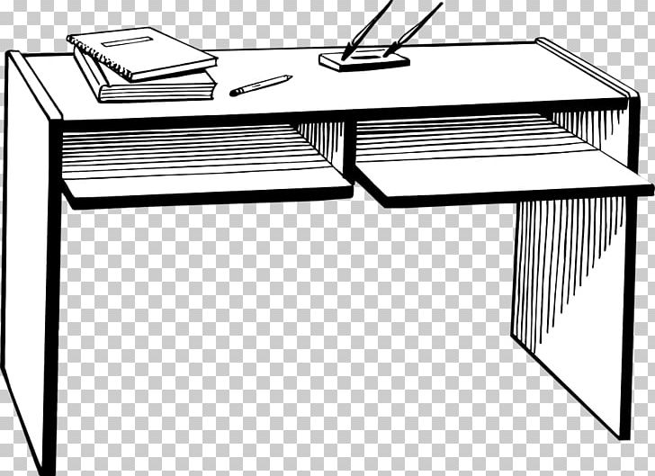 Desk Table Office PNG, Clipart, Angle, Black And White.