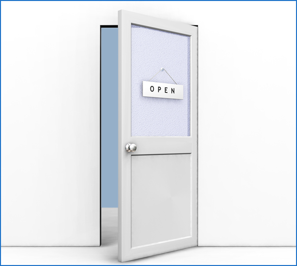 Clipart Illustration of an Open Office Door With An Open.