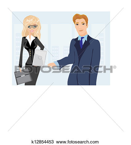 Clipart of Formally dressed people in office, business meeting.