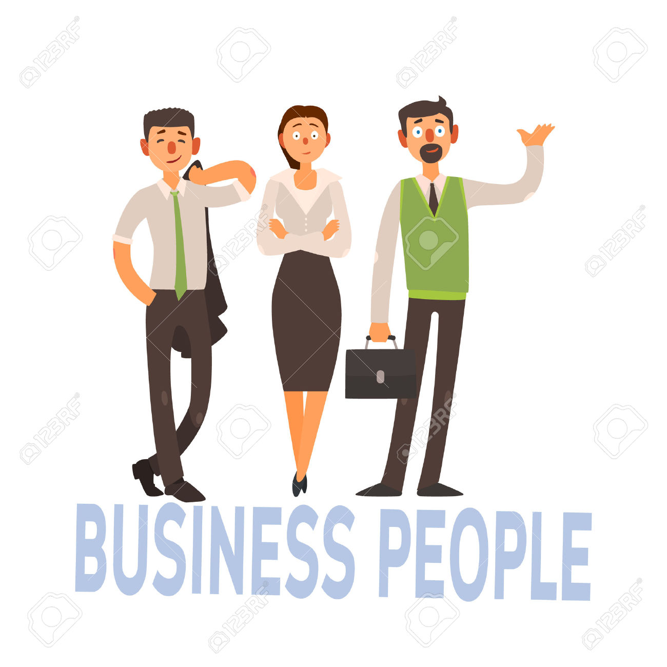 Business People Set Of Three Person In Office Dress Code Clothes.