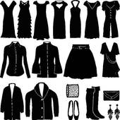 Clip Art of Collection of women's business suits, office style.