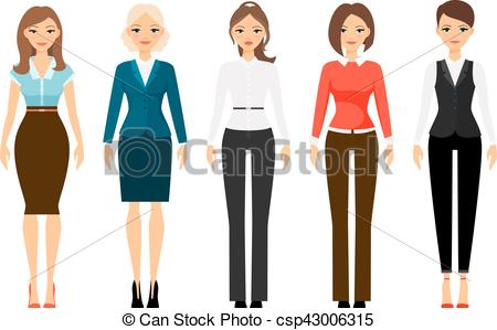 Vector Clipart of Women in office dress code clothes.