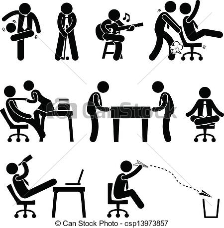 Clipart Vector of Employee Worker Office Fun.