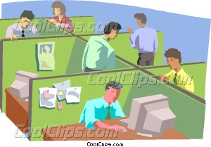 People working in office Vector Clip art.