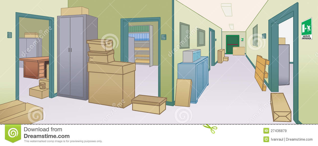 Office Environment With Dangerous Obstacles Doors Royalty Free.