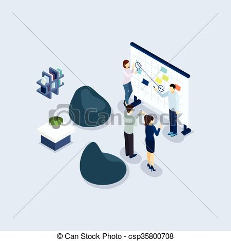 Vector Clipart of Coworking Space Environment Office Isometric.