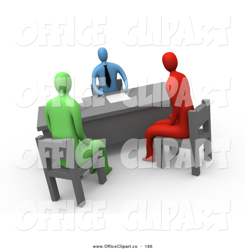 Clip Art of a Red and a Green Person Seated in Chairs While.