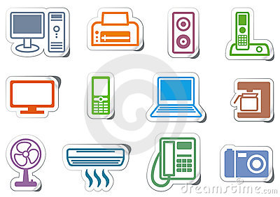 Icons Of Office Equipment Royalty Free Stock Photos.