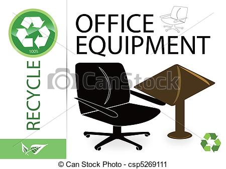 Vector Clip Art of Please recycle office equipment csp5269111.