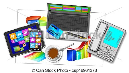 Vectors Illustration of Office workplace..