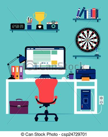 Vector Clipart of Computer and office equipment with a blue.
