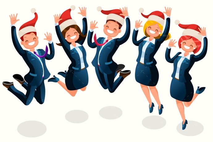 Office christmas party isometric people cartoon image.