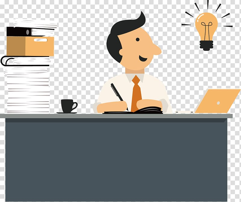 Man on desk working illustration, Microsoft Office Icon, PPT.