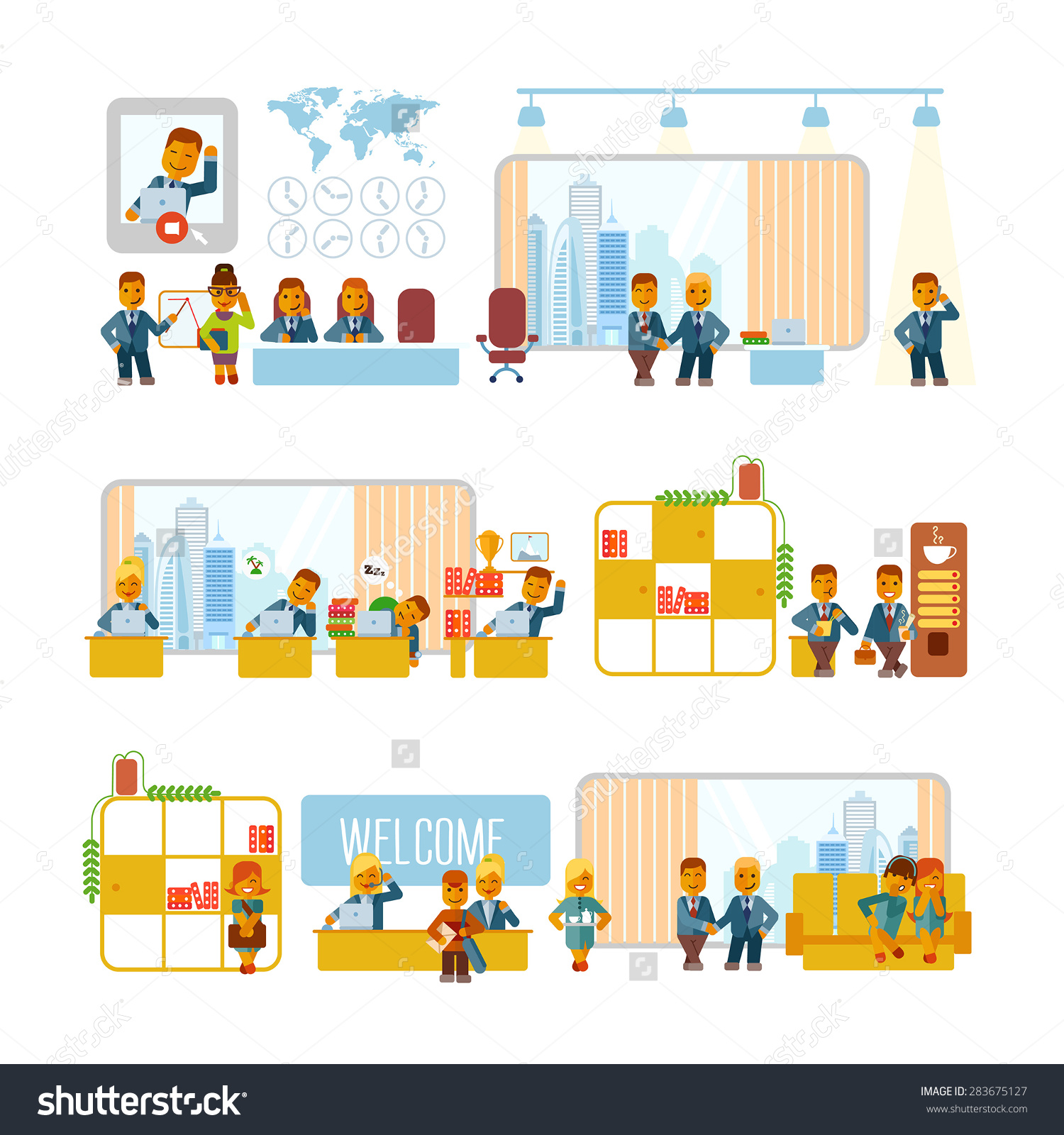 Cartoon Businessmen Office Their Typical Activities Stock Vector.