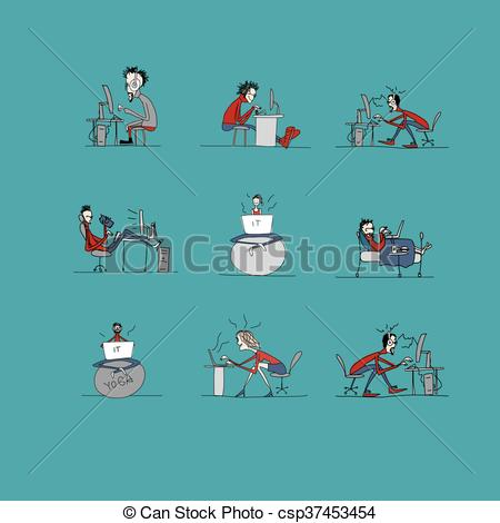 Clipart Vector of Programmers at work, office life, sketch for.
