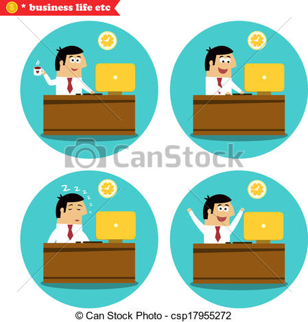 Vectors Illustration of Office worker at the desk.